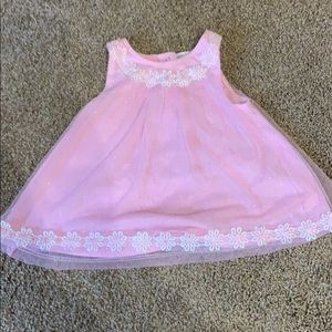 3 T sleeves sparkle dress. Pink with white flowers